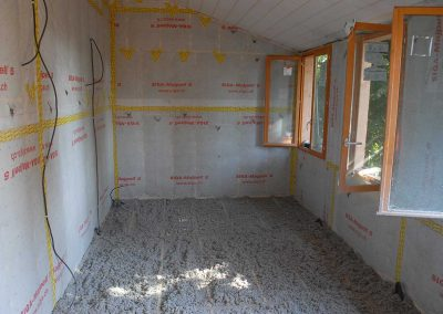isolation du sol de la cabane en ouate de cellulose