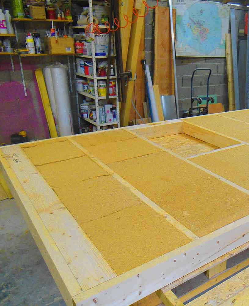 Ossature bois avec isolant en laine de bois