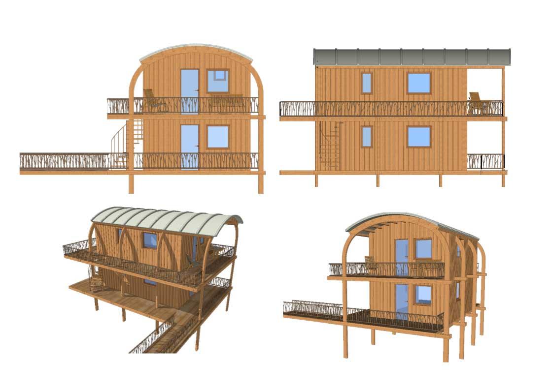 cabanes hll exoscab 3 en mode twins avec étage