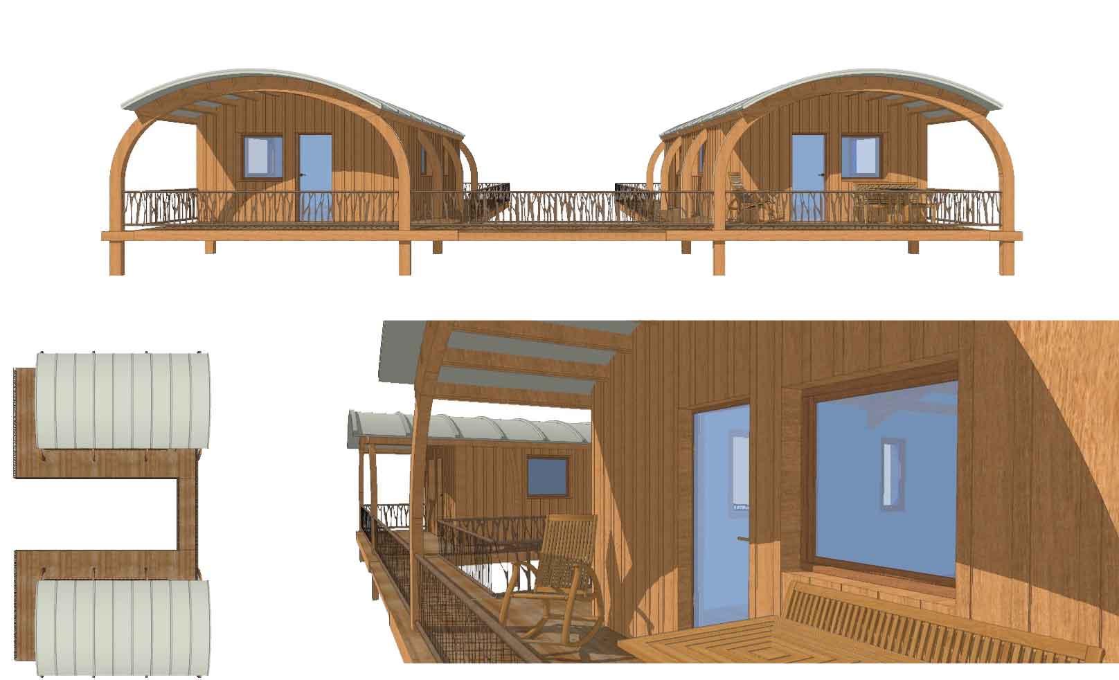 cabanes hll exoscab 3 en mode twin avec passerelle