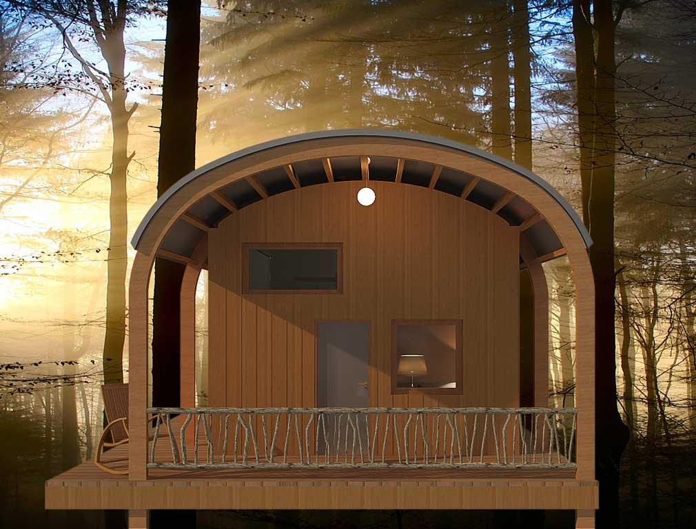hll cabane exoscab 4 mezzanine dans la forêt